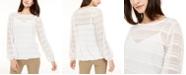 Alfani Sheer Striped Top, Created for Macy's