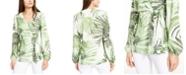 Alfani Petite Printed Faux-Wrap Top, Created for Macy's