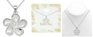 "Kona Bay Crystal Accent & Enamel Flower Pendant Necklace in Fine Silver-Plate, 16"" + 2"" extender"