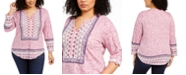 Style & Co Plus Size Border-Print Top, Created for Macy's
