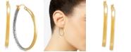 Macy's Two-Tone Medium Polished & Textured Hoop Earrings in 14k Gold & Rhodium-Plate