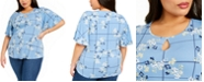 Charter Club Plus Size Floral-Print Keyhole Top, Created For Macy's