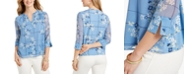 Charter Club Petite Printed Sheer-Sleeve Tunic, Created for Macy's
