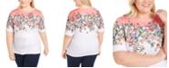 Karen Scott Plus Size Boat-Neck Elbow-Sleeve Top, Created for Macy's