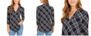 Charter Club Plaid 3/4-Sleeve V-Neck Top, Created for Macy's