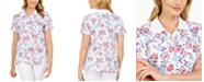 Karen Scott Petite Floral-Print Polo Shirt, Created for Macy's
