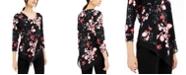 Alfani Petite Floral-Print V-Hem Top, Created for Macy's