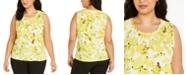 Kasper Plus Size Twist-Neck Floral-Print Top