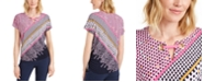 JM Collection Printed Grommet-Keyhole Top, Created for Macy's