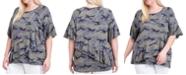 Fever Plus Size Camo-Print Ruffle Top