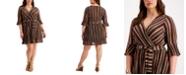 Belldini Plus Size Striped Wrap Dress
