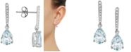 Macy's Aquamarine (1-1/5 ct. t.w.) & Diamond (1/10 ct. t.w.) Drop Earrings in 14k White Gold