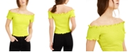 Bar III Smocked Off-The-Shoulder Crop Top, Created for Macy's