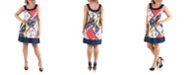 24seven Comfort Apparel Women's Plus Size Patchwork Print Sleeveless Dress