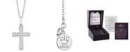 "Hallmark Diamonds Cross Blessings pendant (1/4 ct. t.w.) in Sterling Silver, 16"" + 2"" extender"