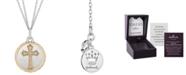 "Hallmark Diamonds Cross Disc Double Chain Blessings pendant (1/10 ct. t.w.) in Sterling Silver & 14k Gold, 16"" + 2"" extender"
