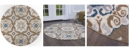 """Global Rug Designs Haven Hav11 Taupe and Blue 7'10"""" x 7'10"""" Round Rug"""