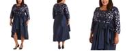 R & M Richards Plus Size Sequin High-Low Dress