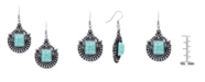 Macy's Simulated Turquoise Silver Plated Crest Wire Earrings