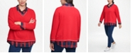 Tommy Hilfiger Plus Size Layered-Look Plaid-Collared Sweater