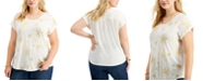 Style & Co Plus Size Glitter-Print T-Shirt, Created for Macy's
