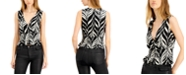 Bar III Abstract-Stripe Smocked Sleeveless Blouse, Created for Macy's