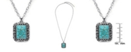 Macy's Simulated Turquoise in Silver Plated Rectangular Pendant Necklace