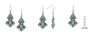 Macy's Simulated Turquoise in Silver Plated Diagonal Wire Earrings