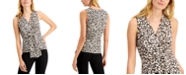 INC International Concepts INC Animal-Print Draped-Twist V-Neck Top, Created for Macy's