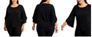 Calvin Klein Plus Size Chiffon Tulip-Sleeve Top