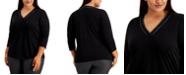 Calvin Klein Plus Size Faux-Leather-Trim Top