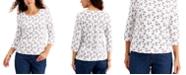 Karen Scott Petite Beach-Print Top, Created for Macy's