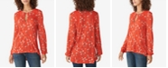 Lucky Brand Printed Lace-Embroidered Top