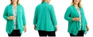Kasper Plus Size Draped-Front Cardigan