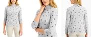 Karen Scott Cat-Print Mock-Neck Top, Created for Macy's