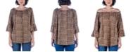 24seven Comfort Apparel Women's Animal Print Elastic Neckline Tunic Top