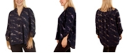NY Collection Women's Plus Size Roll Tab Sleeve Disco Dotted Blouse