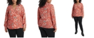 Vince Camuto Women's Plus Size Antique-like Floral Printed Side Tie Wrap Top