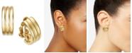 Lauren Ralph Lauren Gold-Tone Ribbed Hoop Clip-On Earrings