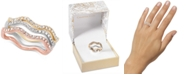 Charter Club Tri-Tone Silver, Gold Plated, 18K Rose Gold Plated 3-Pc. Set Pavé Wavy Rings, Created for Macy's