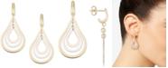 Italian Gold Tri-Colour Orbital Teardrop Drop Earrings in 14k Gold, White Gold & Rose Gold