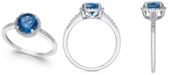 Macy's London Blue Topaz (1-3/8 ct. t.w.) and Diamond (1/8 ct. t.w.) Ring in 14k White Gold