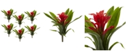 "Nearly Natural 6-Pc. 11"" Red Bromeliad Artificial Flower Stem Set"