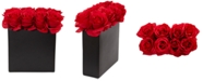 Nearly Natural Red Rose Artificial Arrangement in Black Vase