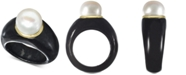 Macy's Cultured Freshwater Pearl Black Jade Ring in 14k Gold (9mm)