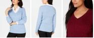 Karen Scott Cable-Knit V-Neck Sweater, Created for Macy's