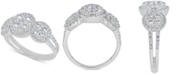 Macy's Diamond Halo Trio Cluster Ring (1-3/8 ct. t.w.) in 14k White Gold