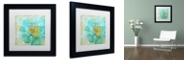 "Trademark Global Color Bakery 'Blue Peony Light' Matted Framed Art, 11"" x 11"""