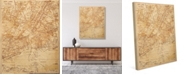 "Creative Gallery Vintage New York Map Sepia 24"" X 36"" Canvas Wall Art Print"