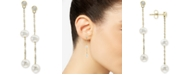 EFFY Collection Cultured Freshwater Pearl (5 & 6mm) & Diamond (1/5 ct. t.w.) Drop Earrings in 14k Gold